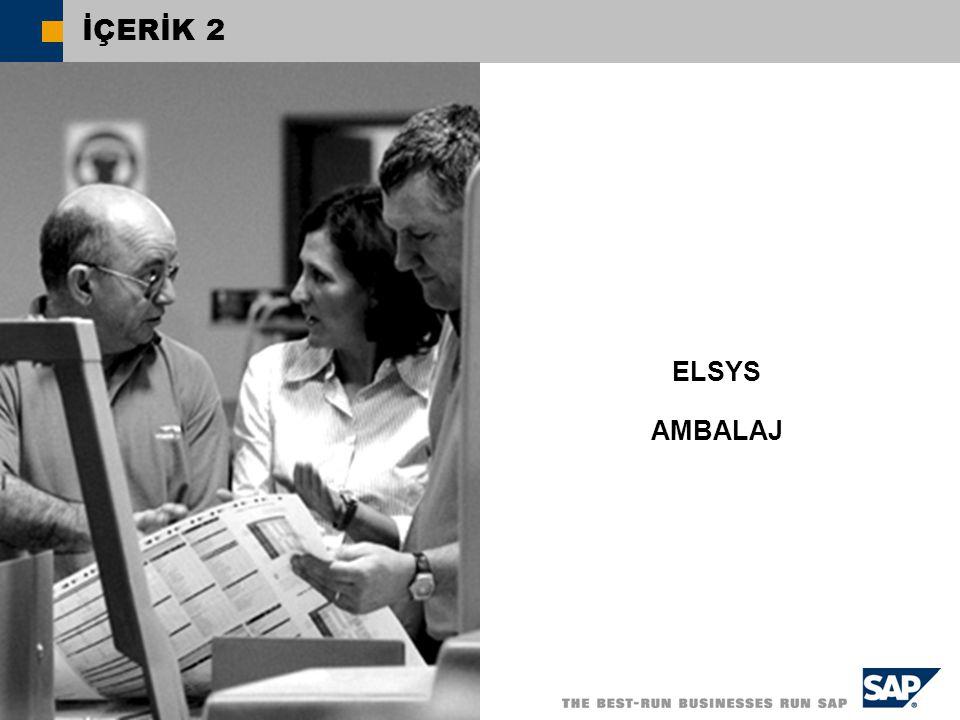  SAP TR 2004, SAP Küçük ve Orta Ölçekli İşletmelere Yönelik SAP Çözümleri İÇERİK 2 ELSYS AMBALAJ