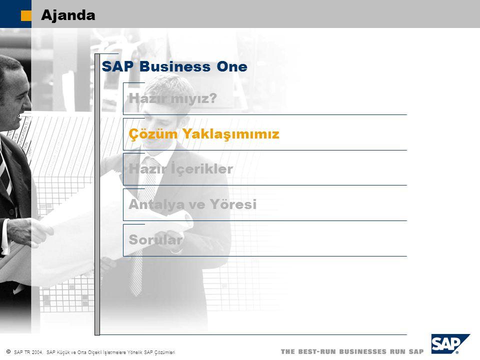  SAP TR 2004, SAP Küçük ve Orta Ölçekli İşletmelere Yönelik SAP Çözümleri SAP´nin önümüzdeki 5 yıllık stratejisi Zamanı değere dönüştürmek Değişim için zamanı yavaşlatmak TCO kördüğümünü çözmek Sağlamlık, Entegrasyon ve Fonksiyonalite