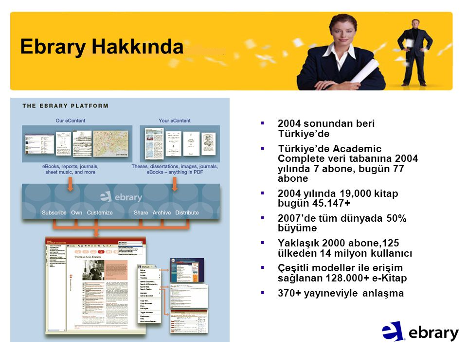 Ebrary Hakkında  2004 sonundan beri Türkiye'de  Türkiye'de Academic Complete veri tabanına 2004 yılında 7 abone, bugün 77 abone  2004 yılında 19,000 kitap bugün 45.147+  2007'de tüm dünyada 50% büyüme  Yaklaşık 2000 abone,125 ülkeden 14 milyon kullanıcı  Çeşitli modeller ile erişim sağlanan 128.000+ e-Kitap  370+ yayıneviyle anlaşma
