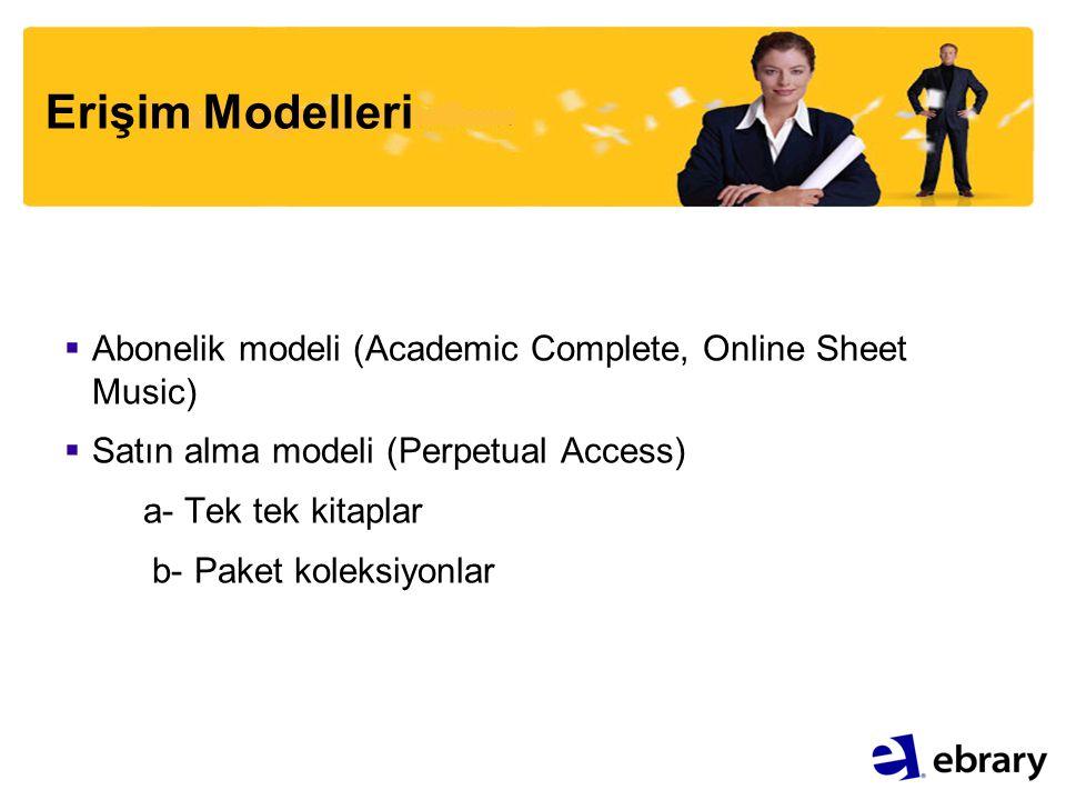 Erişim Modelleri  Abonelik modeli (Academic Complete, Online Sheet Music)  Satın alma modeli (Perpetual Access) a- Tek tek kitaplar b- Paket koleksi