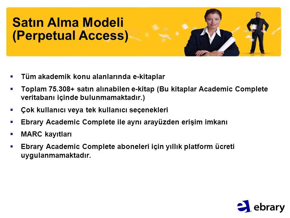 Satın Alma Modeli (Perpetual Access)  Tüm akademik konu alanlarında e-kitaplar  Toplam 75.308+ satın alınabilen e-kitap (Bu kitaplar Academic Comple