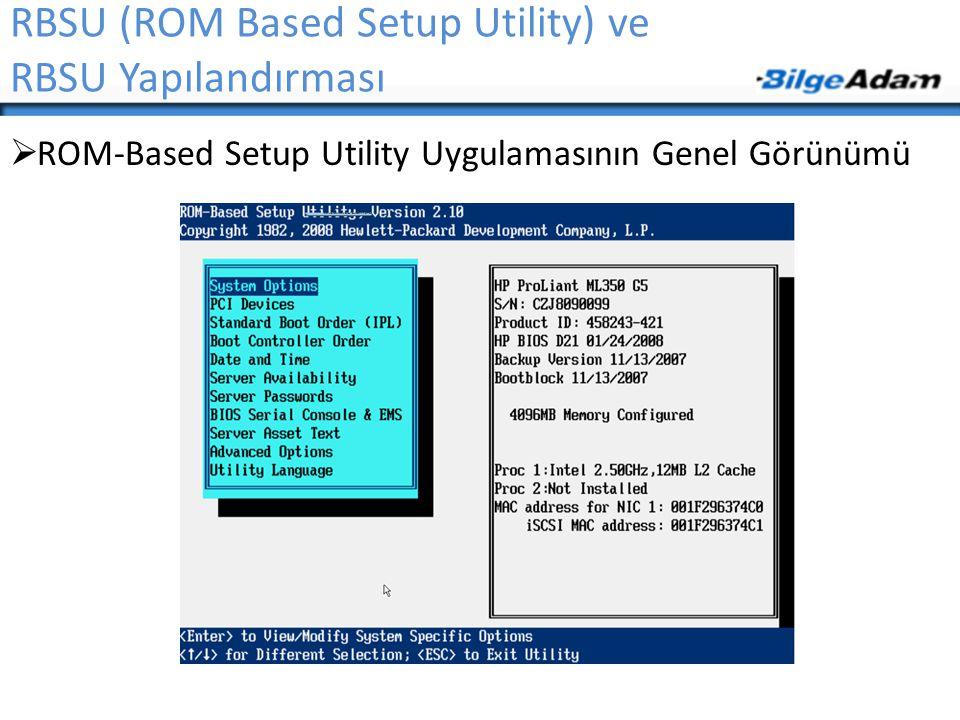 RBSU (ROM Based Setup Utility) ve RBSU Yapılandırması  ROM-Based Setup Utility Uygulamasının Genel Görünümü