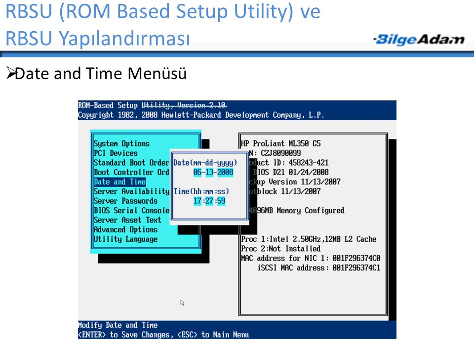 RBSU (ROM Based Setup Utility) ve RBSU Yapılandırması  Date and Time Menüsü