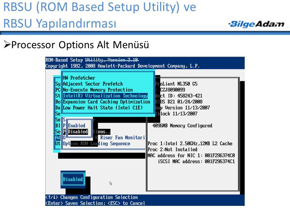 RBSU (ROM Based Setup Utility) ve RBSU Yapılandırması  Processor Options Alt Menüsü