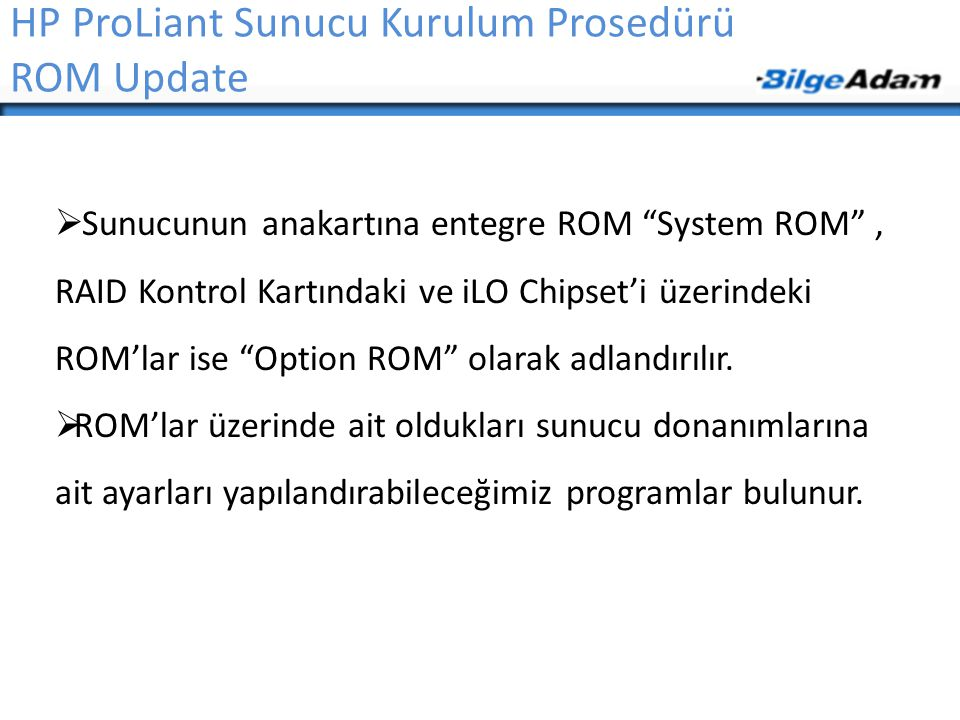 "ROM Update  Sunucunun anakartına entegre ROM ""System ROM"", RAID Kontrol Kartındaki ve iLO Chipset'i üzerindeki ROM'lar ise ""Option ROM"" olarak adland"