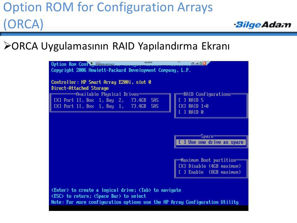 Option ROM for Configuration Arrays (ORCA)  ORCA Uygulamasının RAID Yapılandırma Ekranı