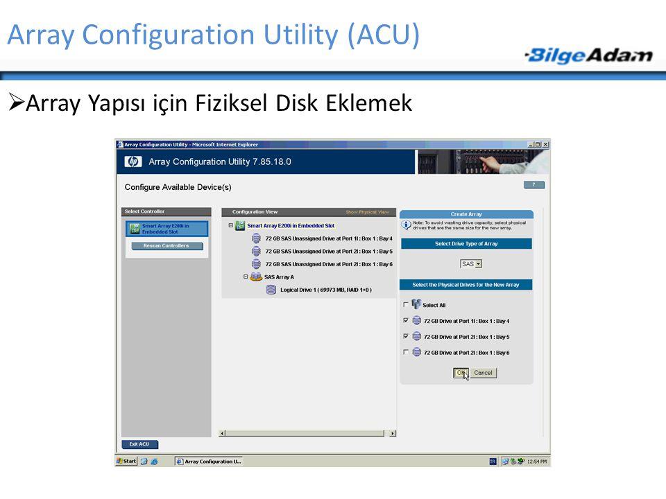 Array Configuration Utility (ACU)  Array Yapısı için Fiziksel Disk Eklemek