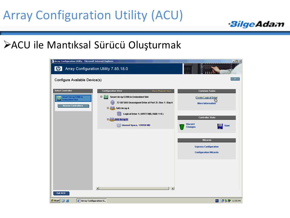 Array Configuration Utility (ACU)  ACU ile Mantıksal Sürücü Oluşturmak