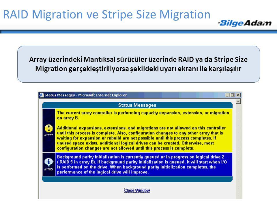 RAID Migration ve Stripe Size Migration Array üzerindeki Mantıksal sürücüler üzerinde RAID ya da Stripe Size Migration gerçekleştiriliyorsa şekildeki