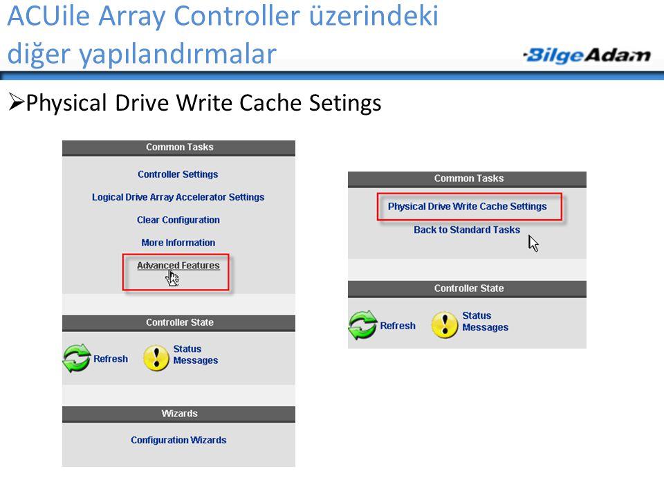ACUile Array Controller üzerindeki diğer yapılandırmalar  Physical Drive Write Cache Setings