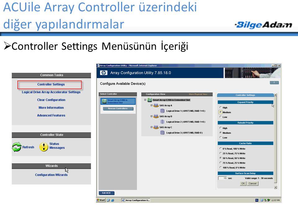 ACUile Array Controller üzerindeki diğer yapılandırmalar  Controller Settings Menüsünün İçeriği