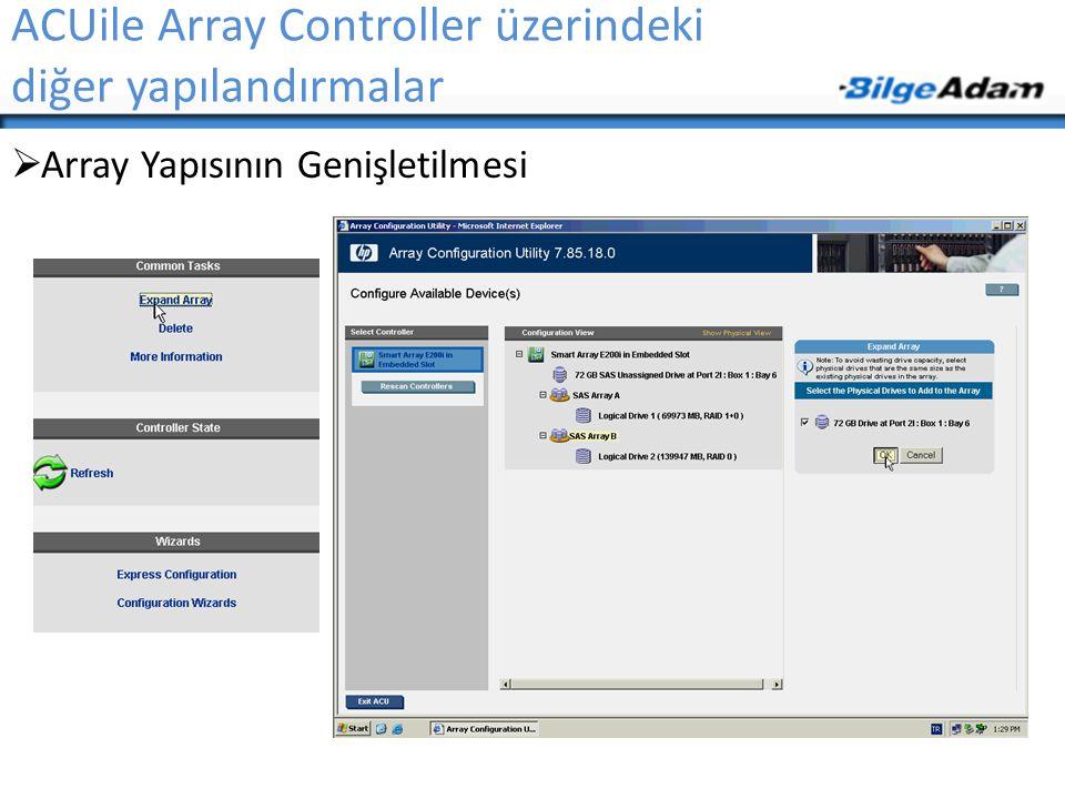 ACUile Array Controller üzerindeki diğer yapılandırmalar  Array Yapısının Genişletilmesi