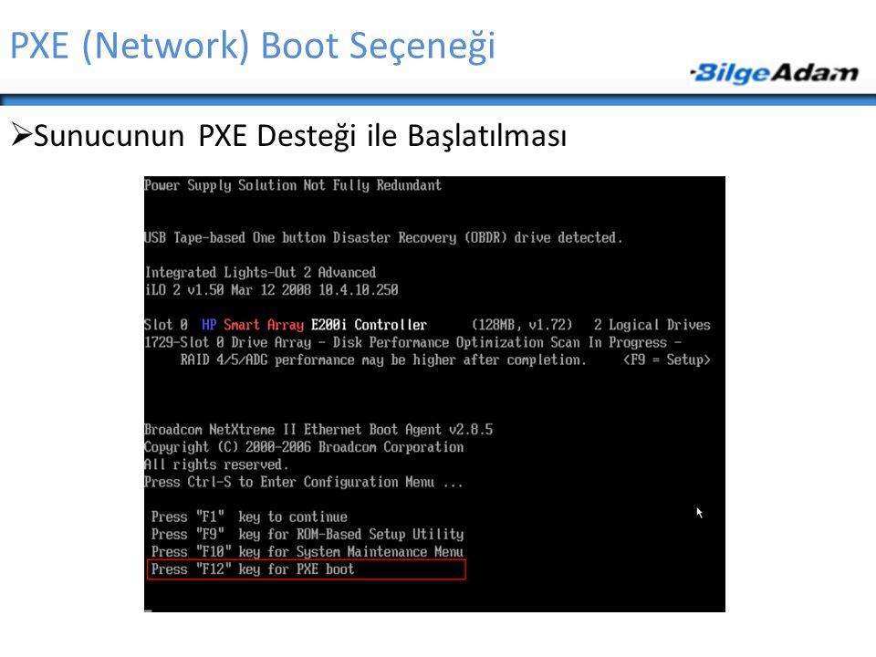 PXE (Network) Boot Seçeneği  Sunucunun PXE Desteği ile Başlatılması