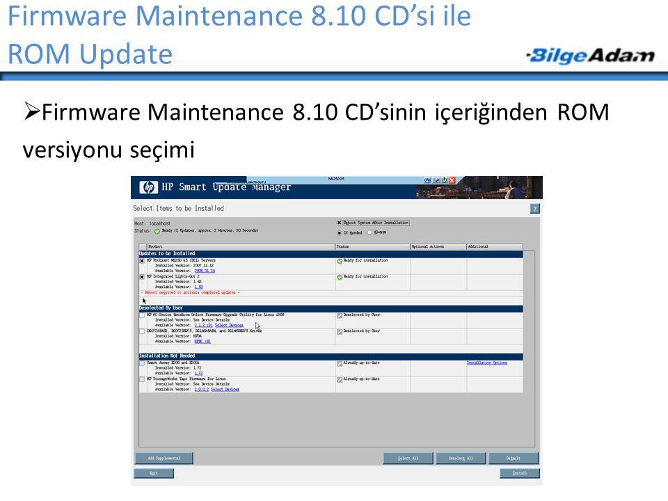  Firmware Maintenance 8.10 CD'sinin içeriğinden ROM versiyonu seçimi