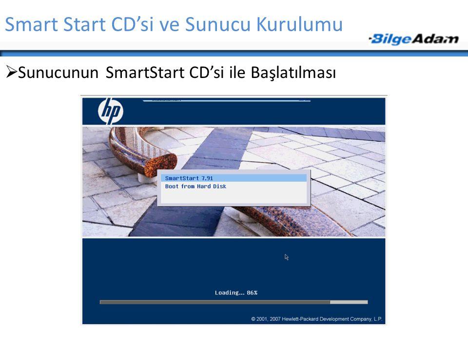 Smart Start CD'si ve Sunucu Kurulumu  Sunucunun SmartStart CD'si ile Başlatılması