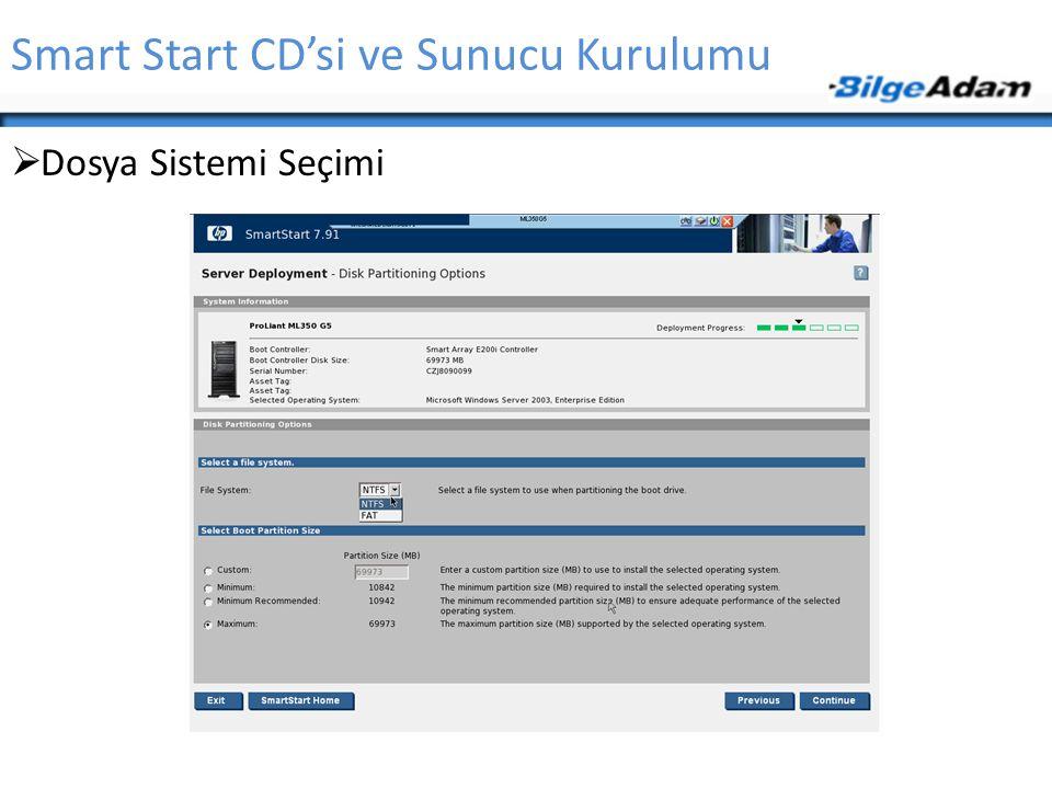 Smart Start CD'si ve Sunucu Kurulumu  Dosya Sistemi Seçimi