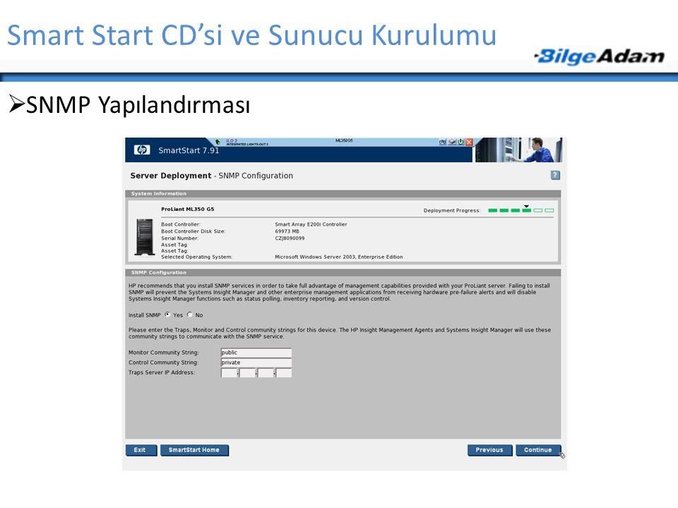 Smart Start CD'si ve Sunucu Kurulumu  SNMP Yapılandırması