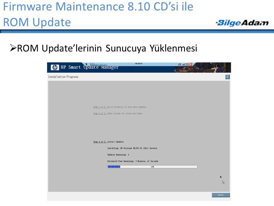 Firmware Maintenance 8.10 CD'si ile ROM Update  ROM Update'lerinin Sunucuya Yüklenmesi