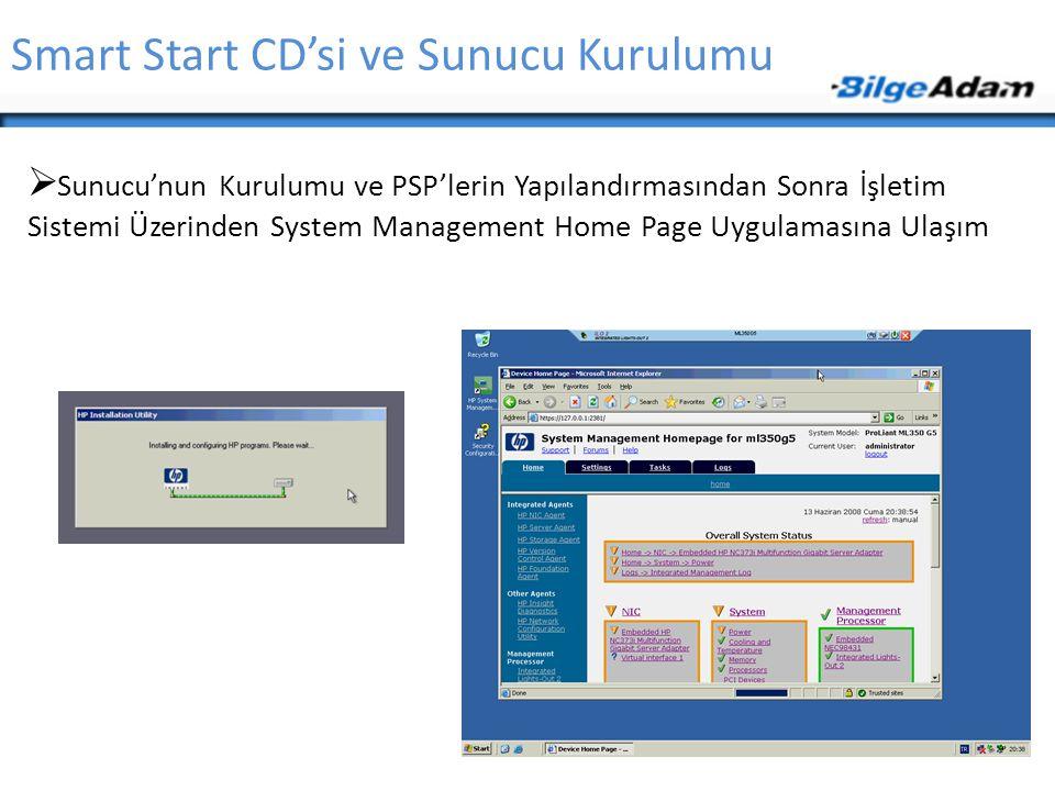 Smart Start CD'si ve Sunucu Kurulumu  Sunucu'nun Kurulumu ve PSP'lerin Yapılandırmasından Sonra İşletim Sistemi Üzerinden System Management Home Page
