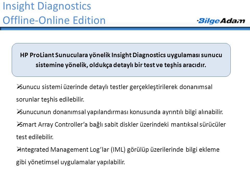 Insight Diagnostics Offline-Online Edition  Sunucu sistemi üzerinde detaylı testler gerçekleştirilerek donanımsal sorunlar teşhis edilebilir.  Sunuc