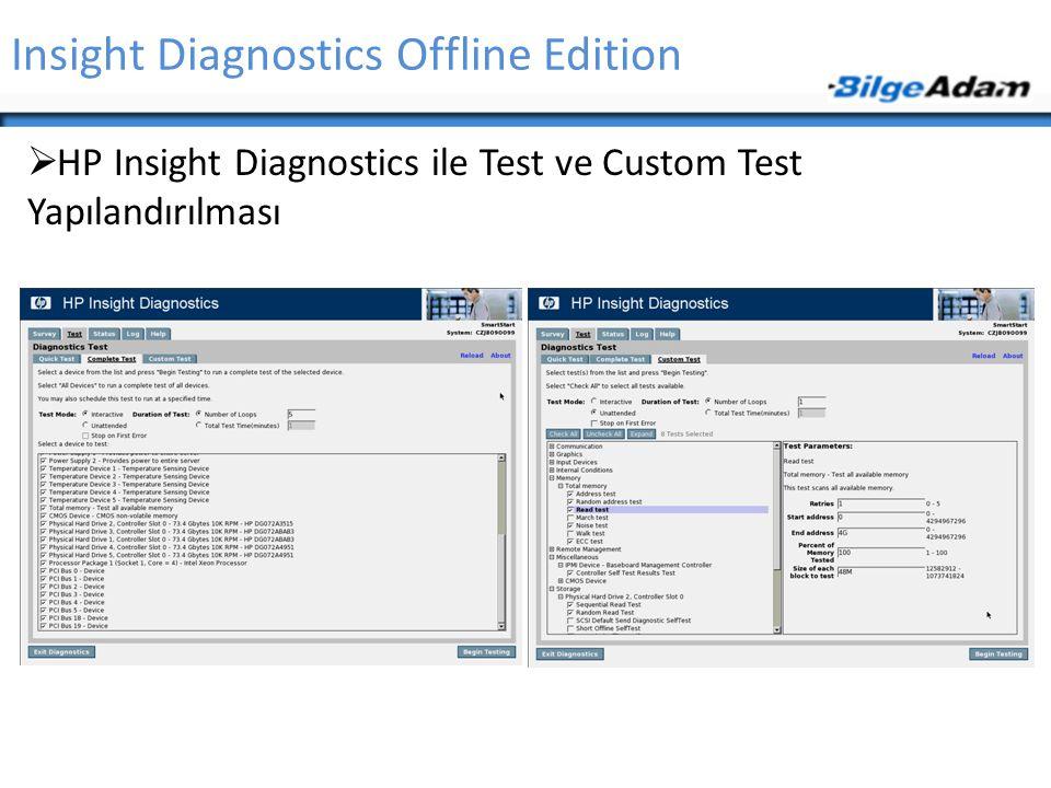  HP Insight Diagnostics ile Test ve Custom Test Yapılandırılması