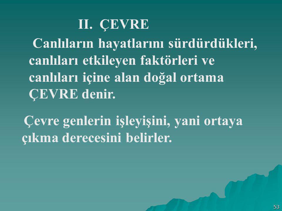 53 II. ÇEVRE Canlıların hayatlarını sürdürdükleri, canlıları etkileyen faktörleri ve canlıları içine alan doğal ortama ÇEVRE denir. Çevre genlerin işl