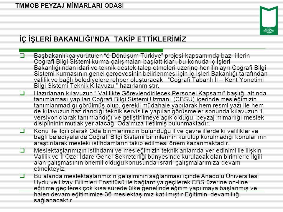 """İÇ İŞLERİ BAKANLIĞI'NDA TAKİP ETTİKLERİMİZ  Başbakanlıkça yürütülen """"é-Dönüşüm Türkiye"""" projesi kapsamında bazı illerin Coğrafi Bilgi Sistemi kurma ç"""