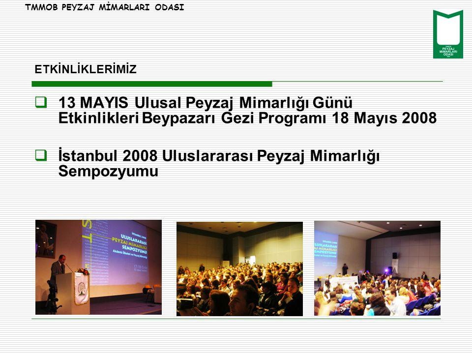 ETKİNLİKLERİMİZ  13 MAYIS Ulusal Peyzaj Mimarlığı Günü Etkinlikleri Beypazarı Gezi Programı 18 Mayıs 2008  İstanbul 2008 Uluslararası Peyzaj Mimarlığı Sempozyumu TMMOB PEYZAJ MİMARLARI ODASI