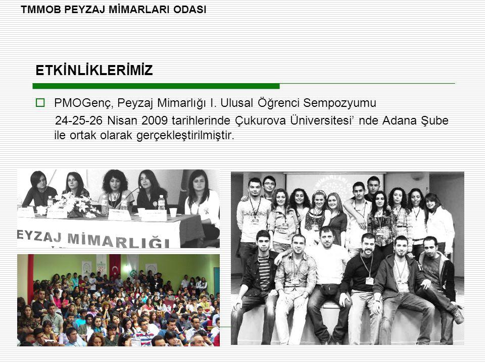 ETKİNLİKLERİMİZ  PMOGenç, Peyzaj Mimarlığı I. Ulusal Öğrenci Sempozyumu 24-25-26 Nisan 2009 tarihlerinde Çukurova Üniversitesi' nde Adana Şube ile or