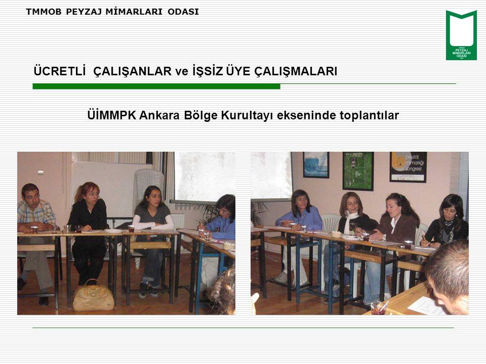 TMMOB PEYZAJ MİMARLARI ODASI ÜİMMPK Ankara Bölge Kurultayı ekseninde toplantılar ÜCRETLİ ÇALIŞANLAR ve İŞSİZ ÜYE ÇALIŞMALARI