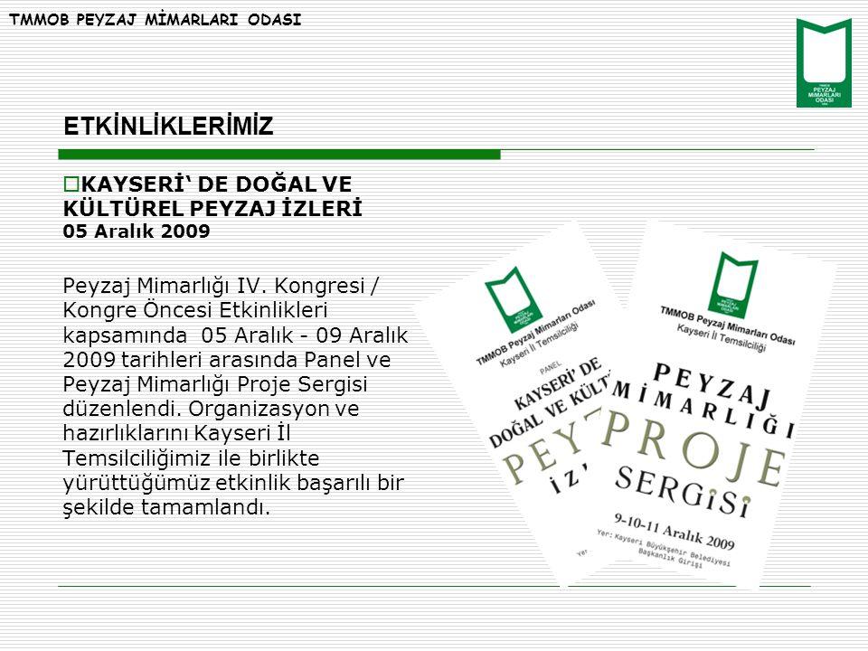  KAYSERİ' DE DOĞAL VE KÜLTÜREL PEYZAJ İZLERİ 05 Aralık 2009 Peyzaj Mimarlığı IV.