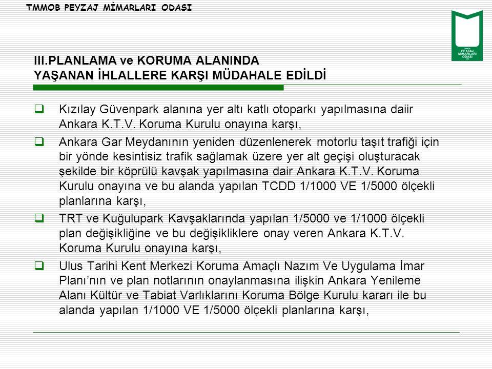  Kızılay Güvenpark alanına yer altı katlı otoparkı yapılmasına daiir Ankara K.T.V. Koruma Kurulu onayına karşı,  Ankara Gar Meydanının yeniden düzen