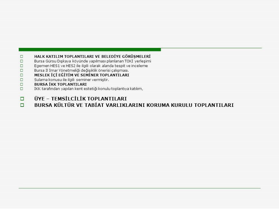  HALK KATILIM TOPLANTILARI VE BELEDİYE GÖRÜŞMELERİ  Bursa Gürsu Dışkaya köyünde yapılması planlanan TOKİ yerleşimi  Egemen HES1 ve HES2 ile ilgili