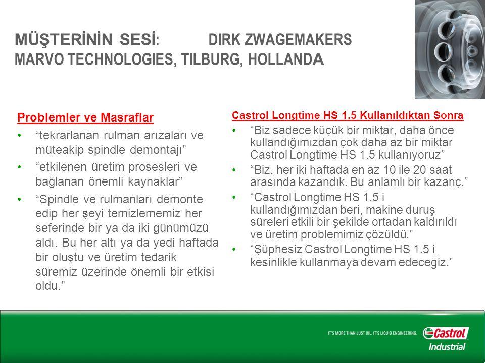 """MÜŞTERİNİN SESİ : DIRK ZWAGEMAKERS MARVO TECHNOLOGIES, TILBURG, HOLLAND A Problemler ve Masraflar •""""tekrarlanan rulman arızaları ve müteakip spindle d"""