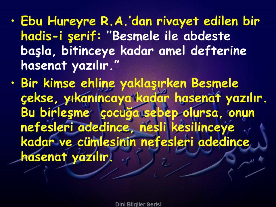 Dini Bilgiler Serisi •Hz. Ali R.A.'den rivayet olunan hadis-i şerifde: ''Dört kitabın bütün ilmi, Kuran- ı Azimüş-şan'da, onun bütün ilmi Fatih-i Şeri