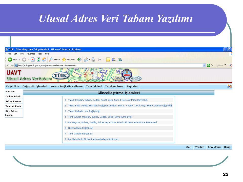 22 Ulusal Adres Veri Tabanı Yazılımı