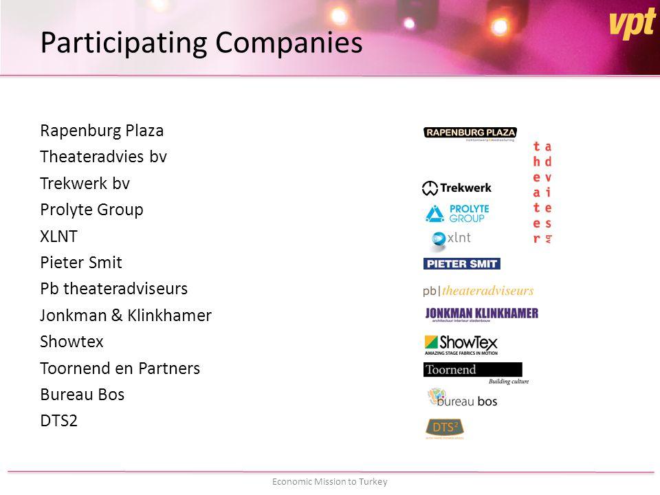 Participating Companies Rapenburg Plaza Theateradvies bv Trekwerk bv Prolyte Group XLNT Pieter Smit Pb theateradviseurs Jonkman & Klinkhamer Showtex Toornend en Partners Bureau Bos DTS2
