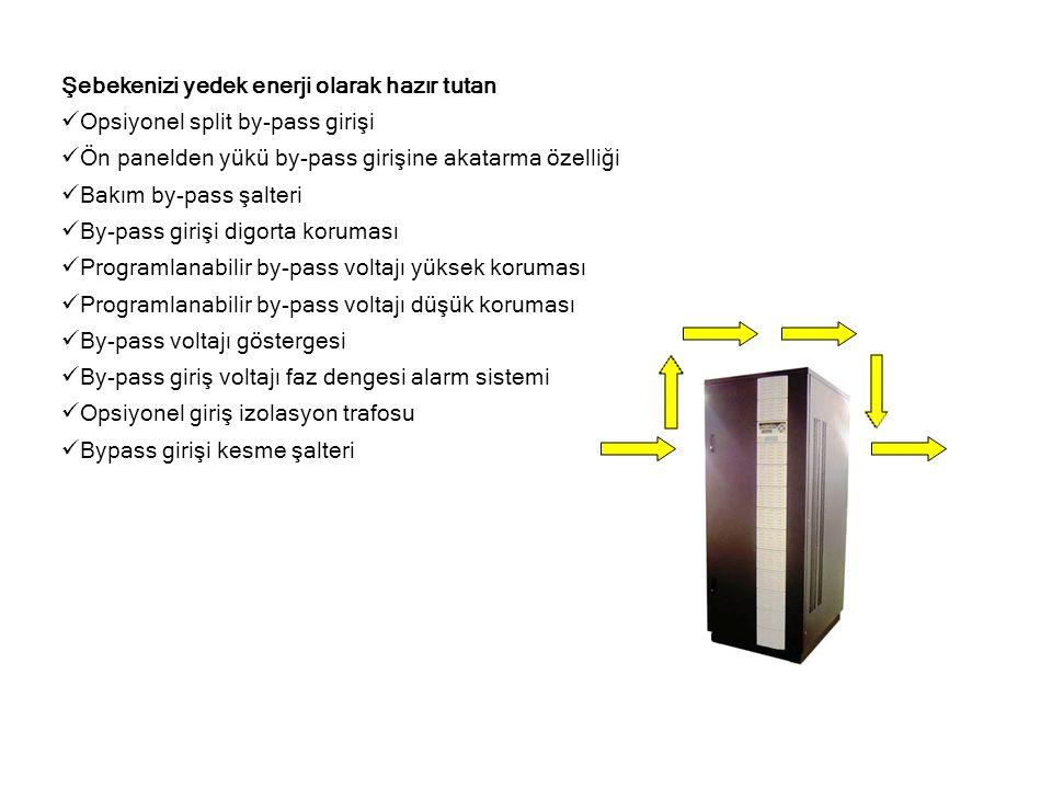 Şebekenizi yedek enerji olarak hazır tutan  Opsiyonel split by-pass girişi  Ön panelden yükü by-pass girişine akatarma özelliği  Bakım by-pass şalt
