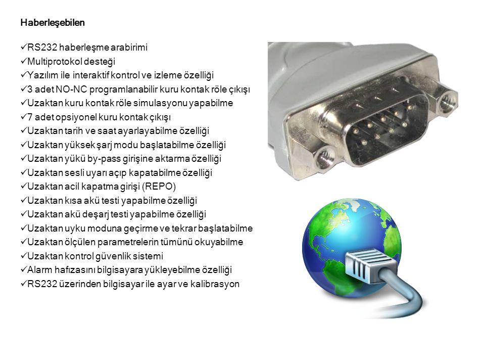 Haberleşebilen  RS232 haberleşme arabirimi  Multiprotokol desteği  Yazılım ile interaktif kontrol ve izleme özelliği  3 adet NO-NC programlanabili