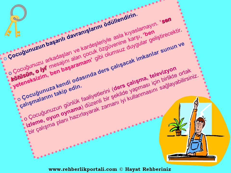 www.rehberlikportali.com © Hayat Rehberiniz  Sorumluluk bilincini kazanmasını sağlayın   Öncelikle çocuğunuzun okuldaki başarısızlığının altında ya