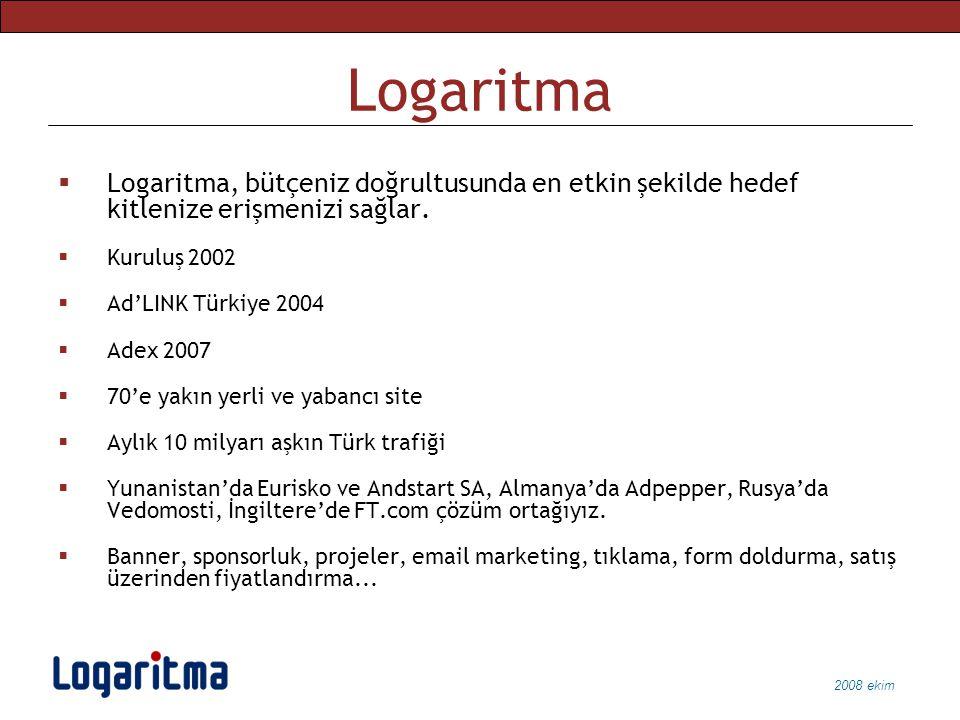 2008 ekim Logaritma  Logaritma, bütçeniz doğrultusunda en etkin şekilde hedef kitlenize erişmenizi sağlar.  Kuruluş 2002  Ad'LINK Türkiye 2004  Ad