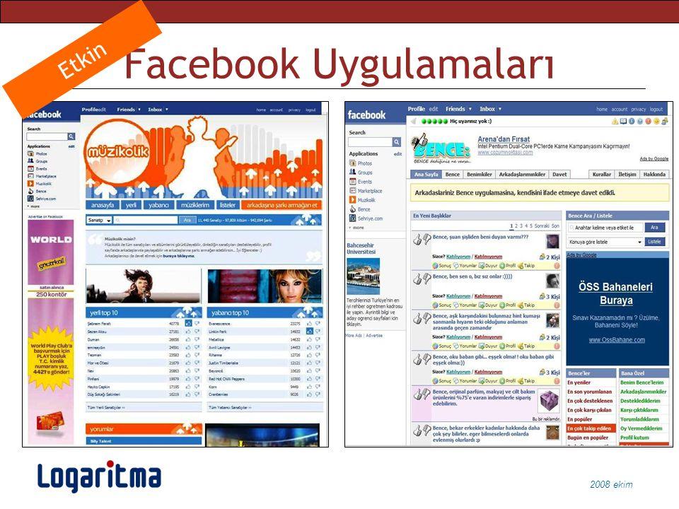 2008 ekim Facebook Uygulamaları Etkin