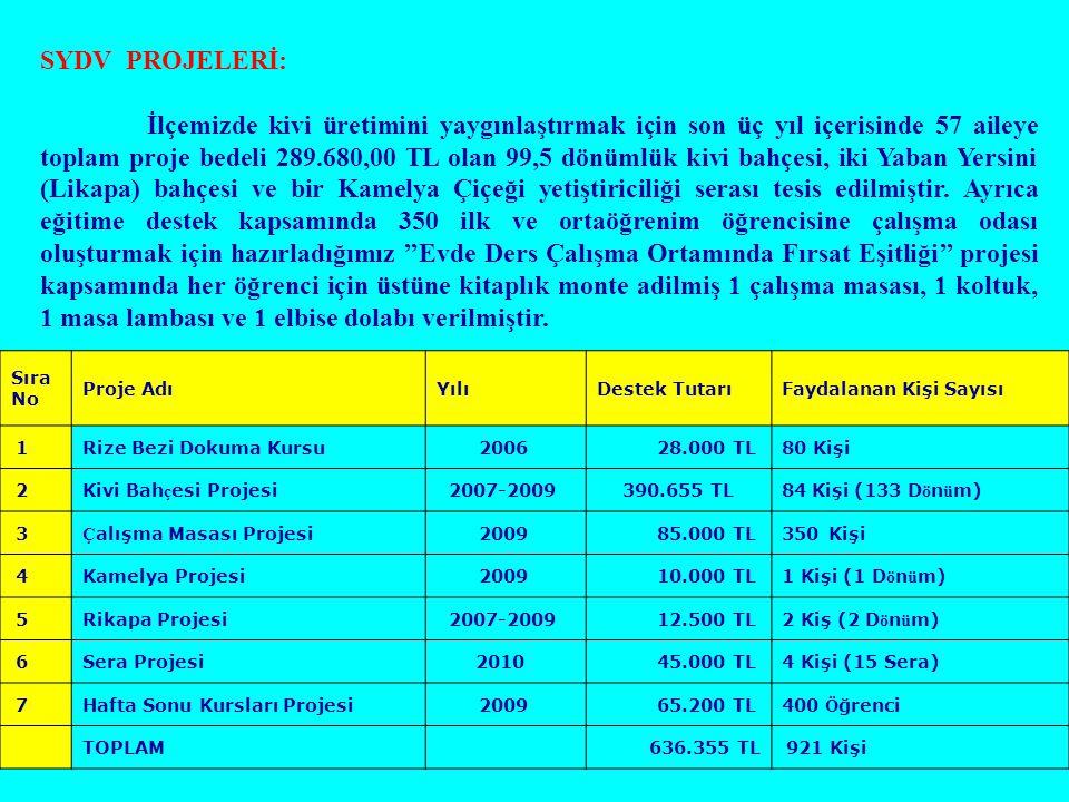 SYDV PROJELERİ: İlçemizde kivi üretimini yaygınlaştırmak için son üç yıl içerisinde 57 aileye toplam proje bedeli 289.680,00 TL olan 99,5 dönümlük kiv