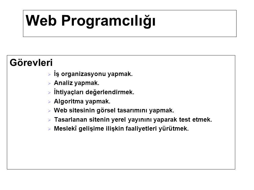 Web Programcılığı Meslek Elamanlarında Aranan Özellikler  Tasarım ve görsel yeterliliğine sahip,  Yabancı dil bilen  Ekip içinde çalışabilen  Sistemli düşünebilen,  Matematikle ilgili konularda başarılı,  Kendini yenileyebilen,  Araştırmacı,  Sabırlı ve dikkatli,  Bir konunun çözümlenmesi için yapılması gereken işlemleri bilgisayar diline aktarabilen kimseler olmaları gerekir.