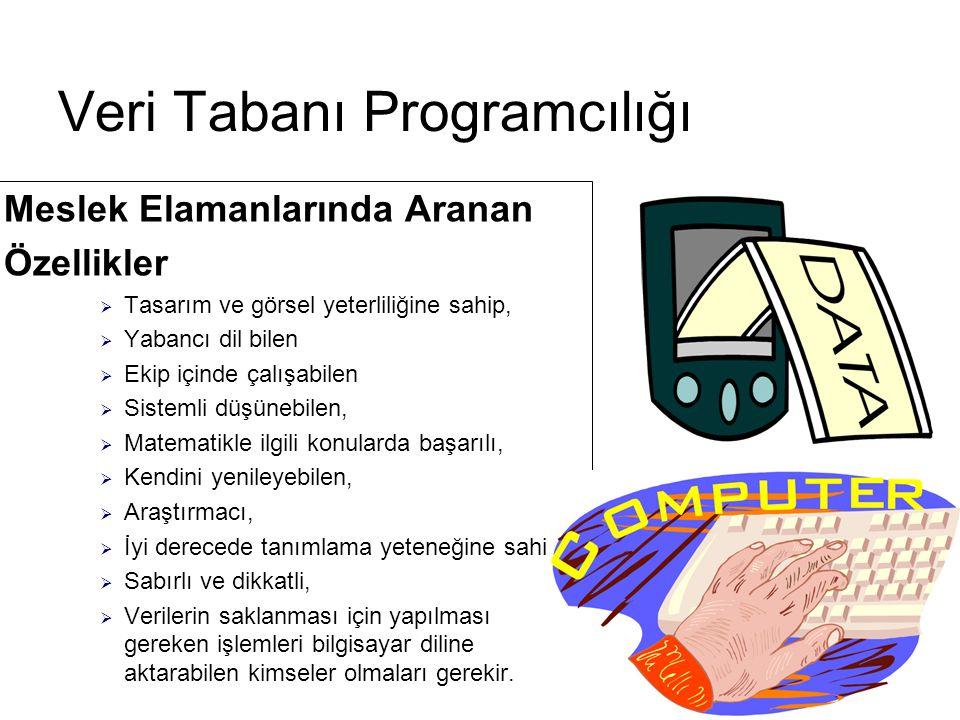 Çalışma Ortamı ve Koşulları  Veri Tabanı programcısı, büro ortamında çalışır ve genellikle programlama ve görsel unsurlarla uğraşır.