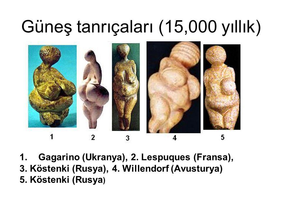 Güneş tanrıçaları (15,000 yıllık) 1.Gagarino (Ukranya), 2. Lespuques (Fransa), 3. Köstenki (Rusya), 4. Willendorf (Avusturya) 5. Köstenki (Rusya )