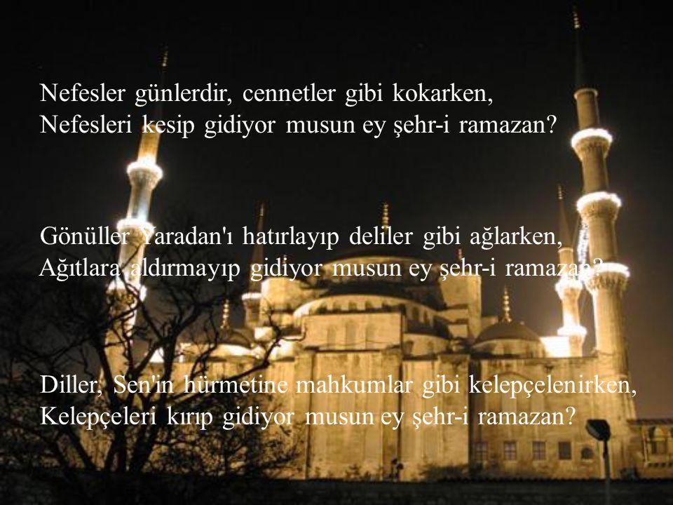 Nasip olur mu bir daha kavuşmak ey şehr-i ramazan? İnanları bırakıp gidiyor musun ey şehr-i ramazan? Müslümanlar, camiye seller gibi akıp dolarken, On