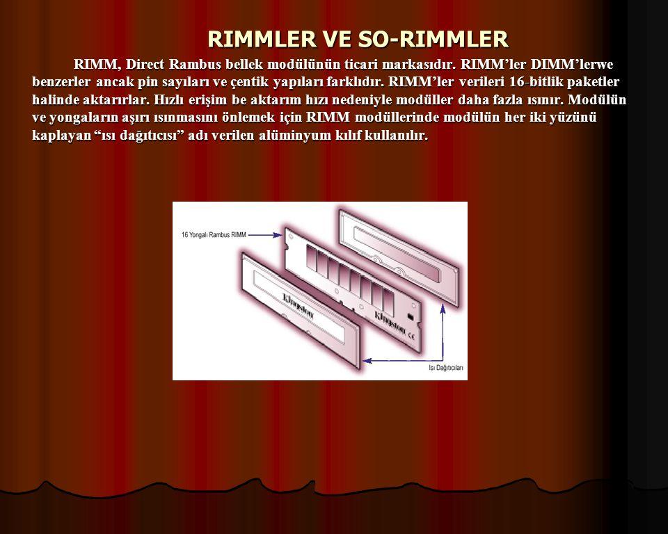 PİN SAYILARINA GÖRE RAM ÇEŞİTLERİ  30 PİNLİK RAM  72PİNLİK RAM  168 PİNLİK RAM Günümüzde 168 pinlik ramlerin üretimi yapılmaktadır.