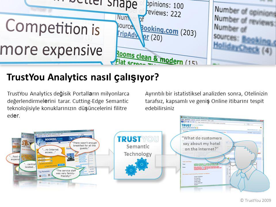 © TrustYou 2009 Semantic Technology TrustYou Analytics nas ı l ç al ışı yor? TrustYou Analytics de ğ isik Portall a r ı n milyonlarca değerlendirme le