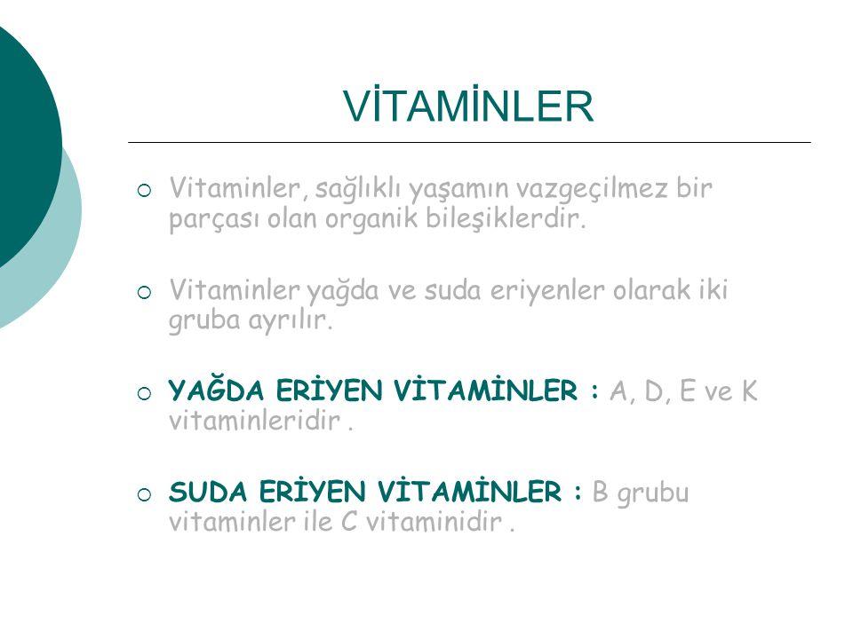 VİTAMİNLER  Vitaminler, sağlıklı yaşamın vazgeçilmez bir parçası olan organik bileşiklerdir.